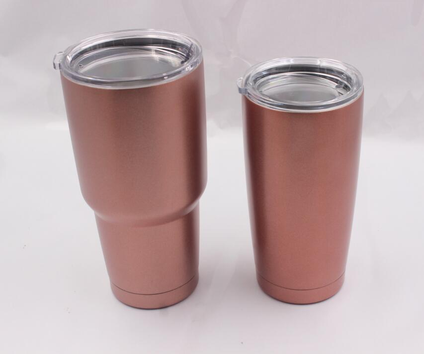 10pcs Rose Gold 8oz 12oz Wine Tumbler Glass Stainless Steel Double Wall Vacuum Insulated 20oz 30oz