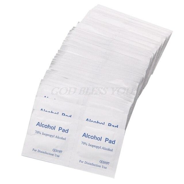 100Pcs/Box Alcohol Wipe Pad Medical Swab Sachet Antibacterial Tool Cleanser 2