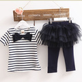 Girls Set Two Two Pieces Stripes Bow T-shirt + Tutu Skirt Leggings Lovely Baby Kids Clothing