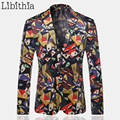 Mens Slim Fit Suit Blazer Jackets Casual Geometry Printed Costume Masculino Outwear Wedding Dress Luxury Coats 2016 New K206