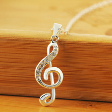 Silver Plated Music Pendant Necklace