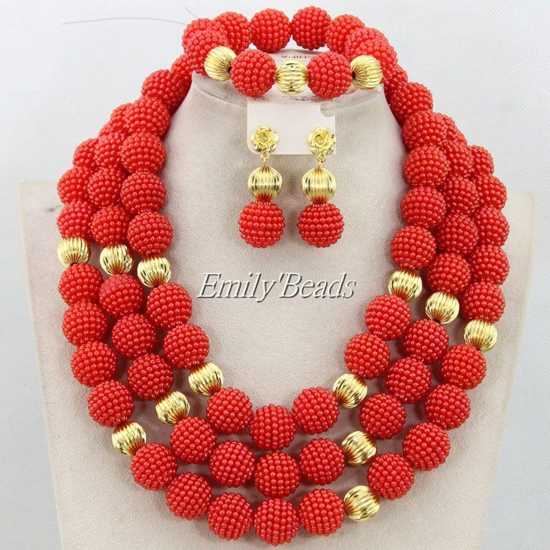 Elegant Champagne Gold Nigerian African Wedding Beads Jewelry Set ...
