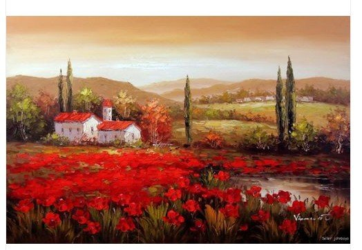 Tuscany Italian Sunset Country Home Red Poppies 24x36 Oil