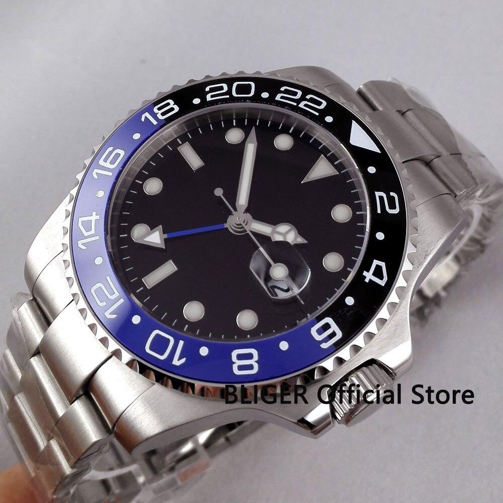 Sapphire Crystal BLIGER 43MM Black Sterile Dial Blue Black Ceramic Bezel GMT Function Luminous Automatic Movement Men's Watch
