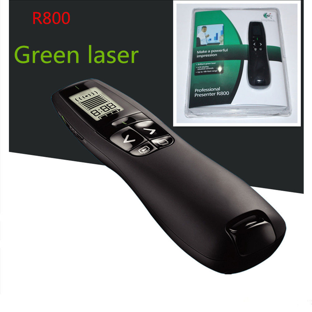 <font><b>Logitech</b></font> <font><b>R800</b></font> Presenter Professional Wireless Powerpoint Presenter Remote Control with 5MW 532NM Green Laser Pointer image
