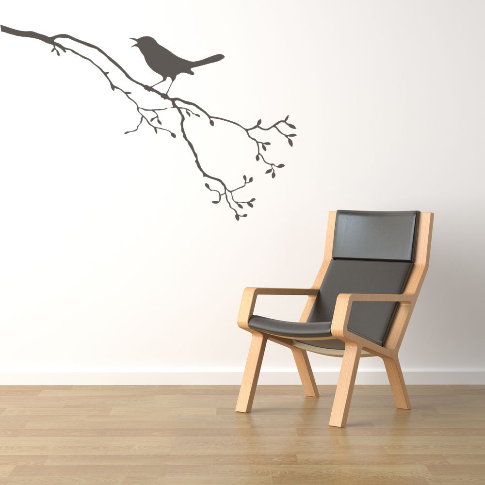 Branches with bird standing on cute tree wall stickers home plant series nature decor vinyl art wall murals decal wm199