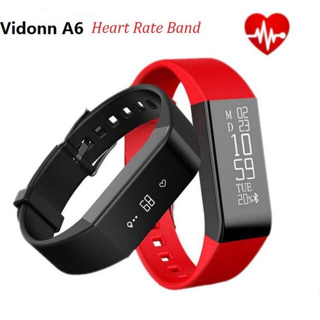Ip68 a prueba de agua relojes de pulsera smartband a6 vidonn inteligente oled bluetooth 4.0 con frecuencia cardíaca en tiempo real track