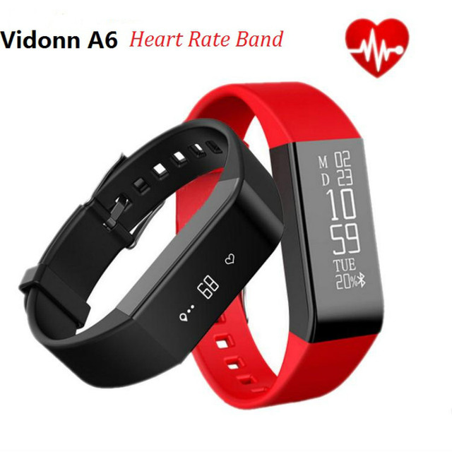 Vidonn A6 OLED Smart Wristband Bracelet IP68 Waterproof Watches Smartband Bluetooth 4.0 with Real-time Heart Rate Track