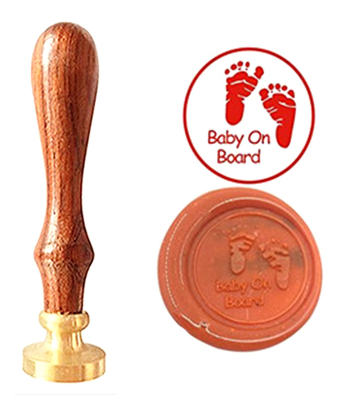 Baby Foot Prin Vintage Custom Picture Logo Luxury Wax Seal Sealing Stamp Brass Peacock Metal Handle Gift Set