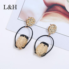L&H Personality Ethnic Handmade Drop Earrings Fashion Statement Rattan Knit Wood Basket Dangle For Women Jewelry Gift
