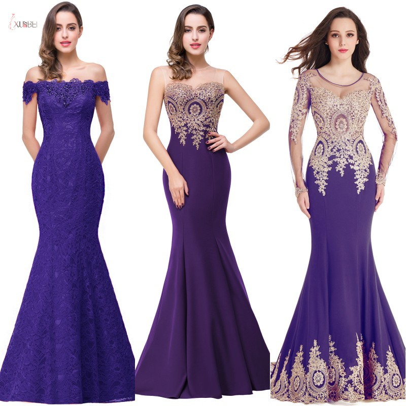 2019 Elegant Purple Mermaid Long Bridesmaid Dresses Sexy Applique Wedding Party Guest Gown Vestido Madrinha