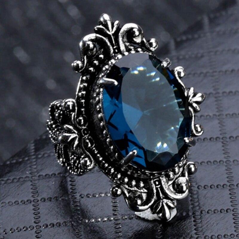 ZuverläSsig 1 Pc Vintage Blau Zirkon Schmuck Ringe Retro Punk Stil Feine Gans Ei Schmuck Blume Carving Blau Großen Oval Geschnitten Peridot