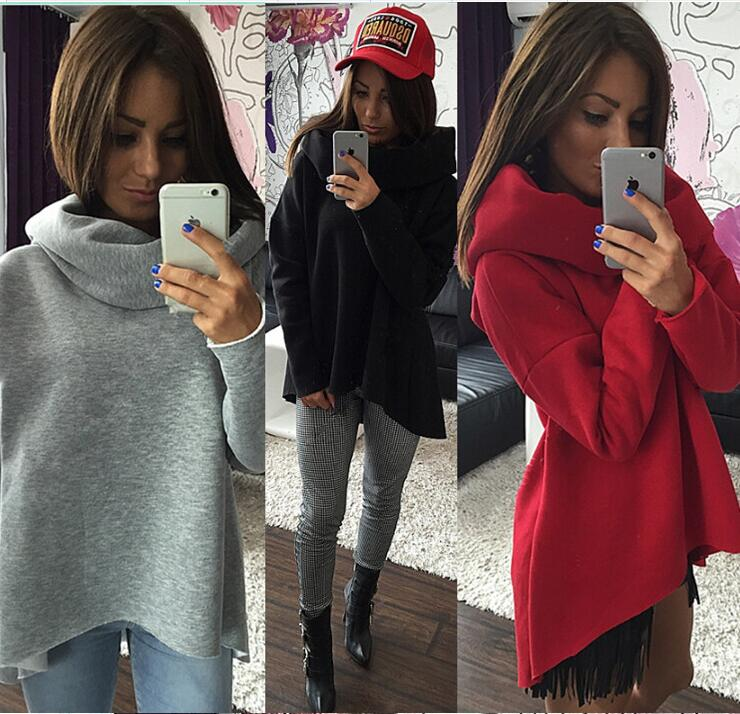 Christmas clothes 2016 New Arrival Women Winter Hoodies Scarf Collar Long Sleeve Fashion Casual Style Autumn Sweatshirts