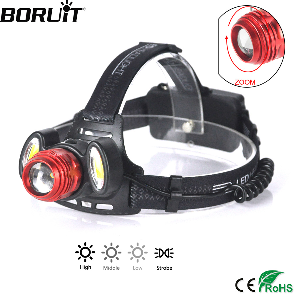 BORUiT XQ-150 3000LM T6 COB LED Headlight 4-Mode Zoomable Headlamp Rechargeable Head Torch Camping Flashlight 18650 Battery