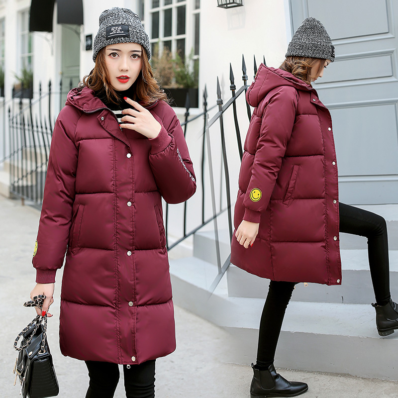 2017 Winter New Hot Fashion Women Parkas Thick Warm Hooded Smiling Face Female Cotton-padded Coats Jackets Long LA1013B#16606 2017 winter women parkas slim feathers collar female cotton padded coats jackets long thick warm hooded new hot la1013b 16608