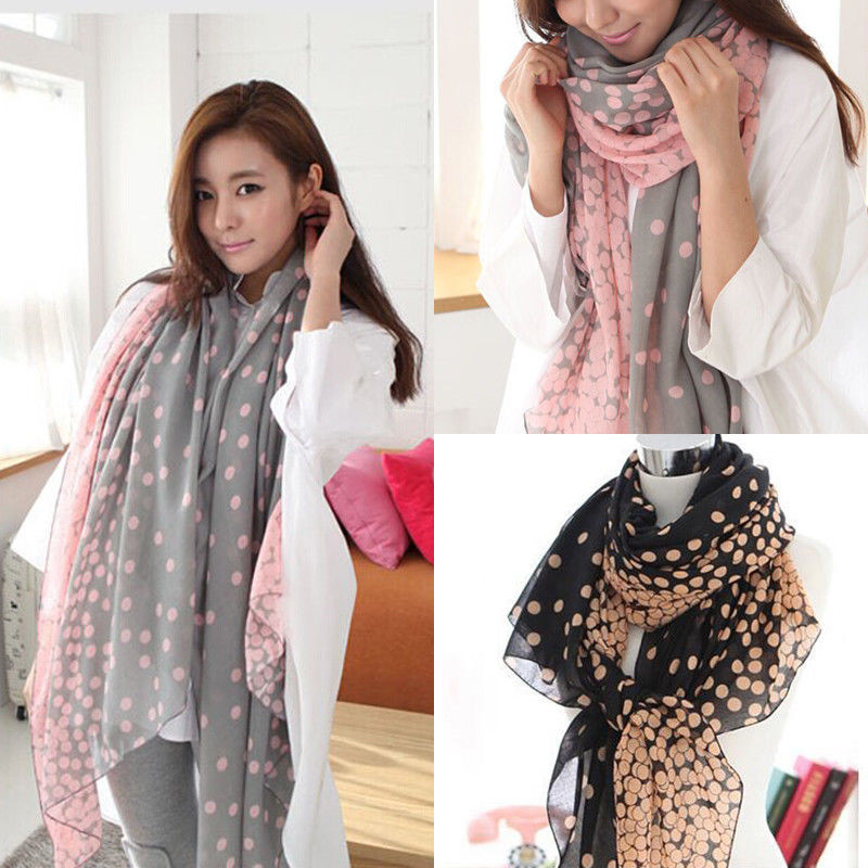 Fashion Women Ladies Chiffon Long Polk Dots Print Pattern Shawl Soft Wrap Long Shawl Scarves in Women 39 s Scarves from Apparel Accessories