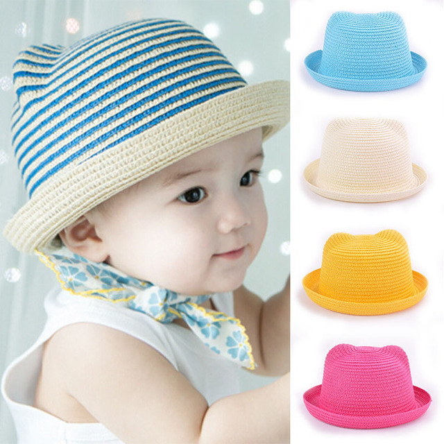 4d0f0726ac6 Cute Ears Straw Hats Baby Hat For Girls Boys Bucket Hat Child Kids Sun  Summer Beach Panama Caps bonnet enfant Photography Props