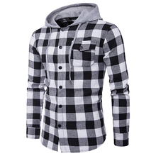 ZOGAA mens shirts 2019 fashion new big plaid series men pocket decoration Korean casual hooded shirt plus size S-3XL