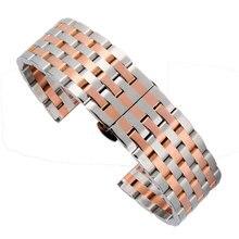 Luxo 22/20mm Prata e Rosa de Ouro Aço Inoxidável relógio de Pulso Banda Strap Pulseira Pulseira Substituição Botão Escondido fecho