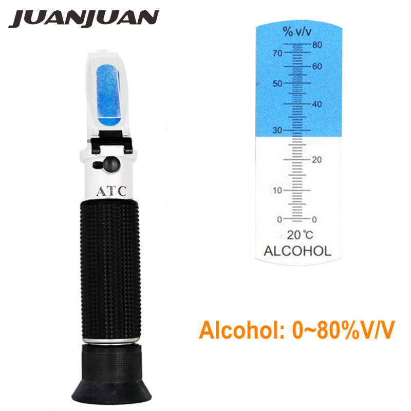 Portable Handheld Refractometer Design for Alcohol Liquor Content Testing 0-80% Range Built in ATC 37% off alcohol refractometer for spirit alcohol volume percent measurement with automatic temperature compensation atc range 0 80%