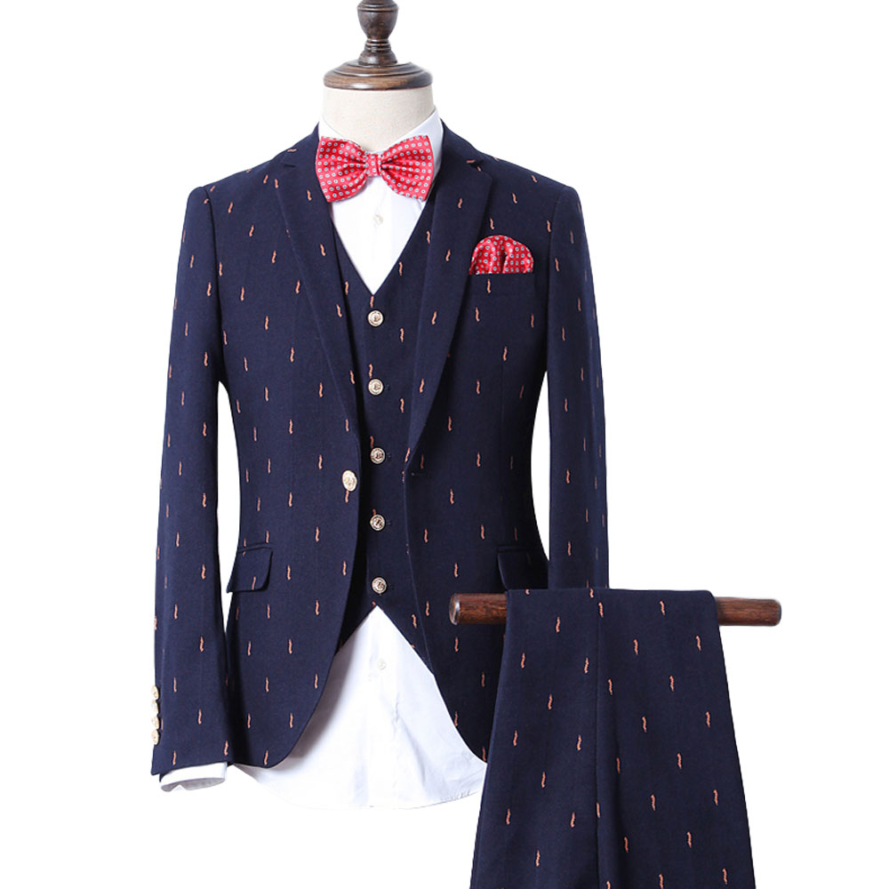 3 Piece Men Suits Fashion Navy Business Suit Men Wedding