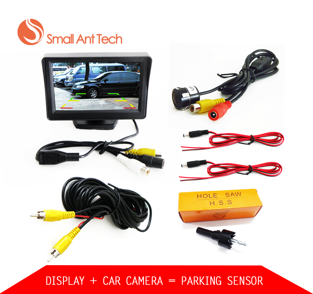 Car Parktronic Parking system kit Video Sound Alarm With Rear View Camera with 4.3 Car Parking Monitor and Display Distance for ford escape maverick mariner car parking sensors rear view back up camera 2 in 1 visual alarm parking system