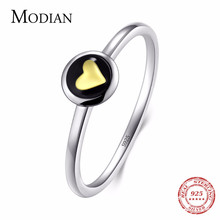 Modian 2019 New Fashion Instagram Gold Heart Original 100% 925 Sterling Silver enamel Ring Classic Stackable Jewelry For Women(China)