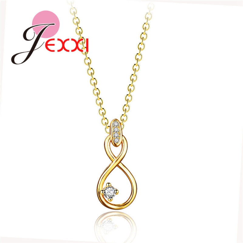 New Fashion Golden Number 8 Simple Design With Cubic Crystal Woman Necklace Jewelry Decoration Daily Party Use Gifts