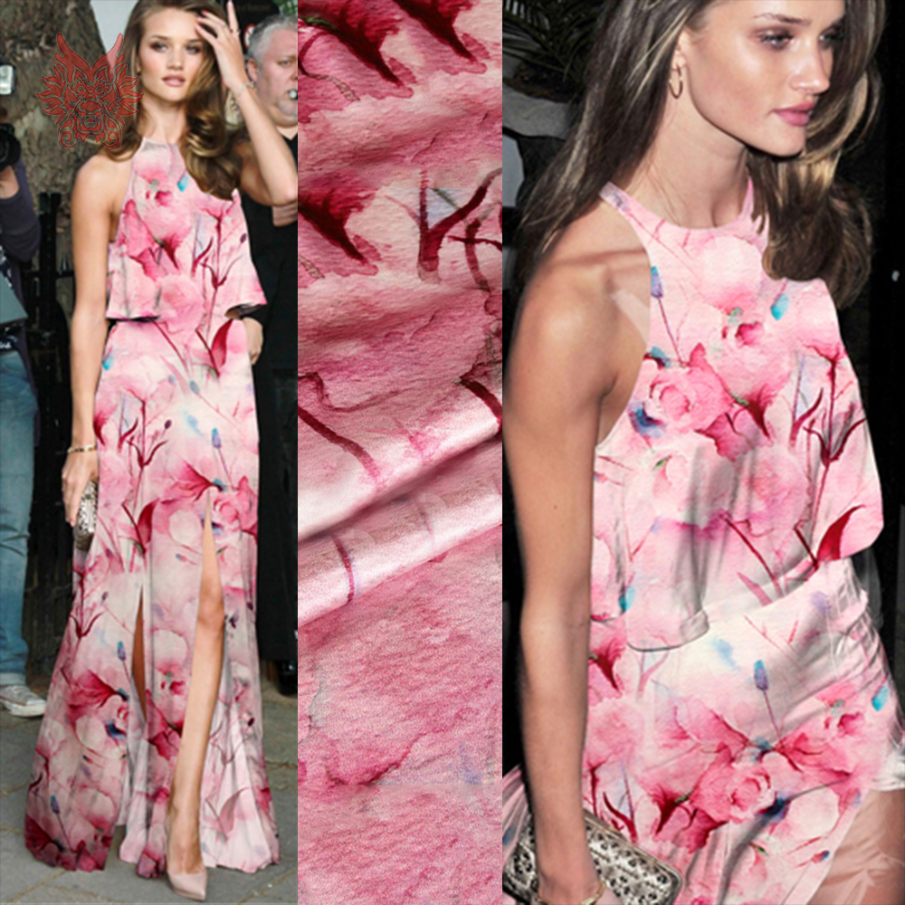 Luxury pink floral print spandex silk fabric apparel for dress natural silk tissue cloth tela tecido