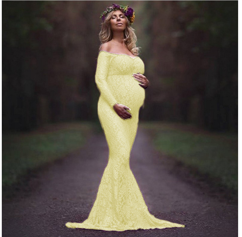 44cd61e1776 ... 2018 Mermaid Maternity Dresses For Photo Shoot Lace Maxi Maternity Gown  Off Shoulder Sexy Women Pregnancy ...