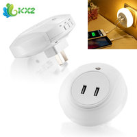Smart Design LED Night Light With 2A Dual USB Port Wall Plate Charger Perfect For Bedroom
