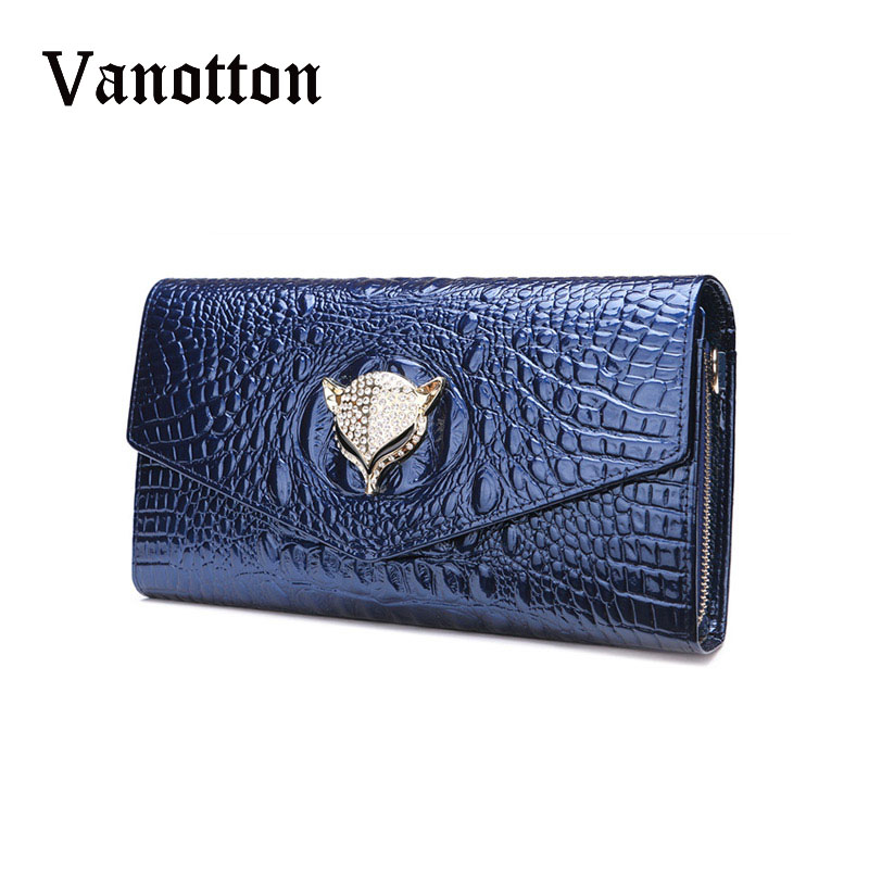 ФОТО Luxury Women Chains Shoulder Bags Genuine Leather Crocodile Phone Wallet for Ladies Fox Decoration Clutch Bags Coin Purse