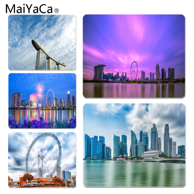 MaiYaCa New Printed Singapore Marina Bay Panorama Gamer Speed Mice Retail Small Rubber Mousepad Size for 25x29cm Small Mousepad