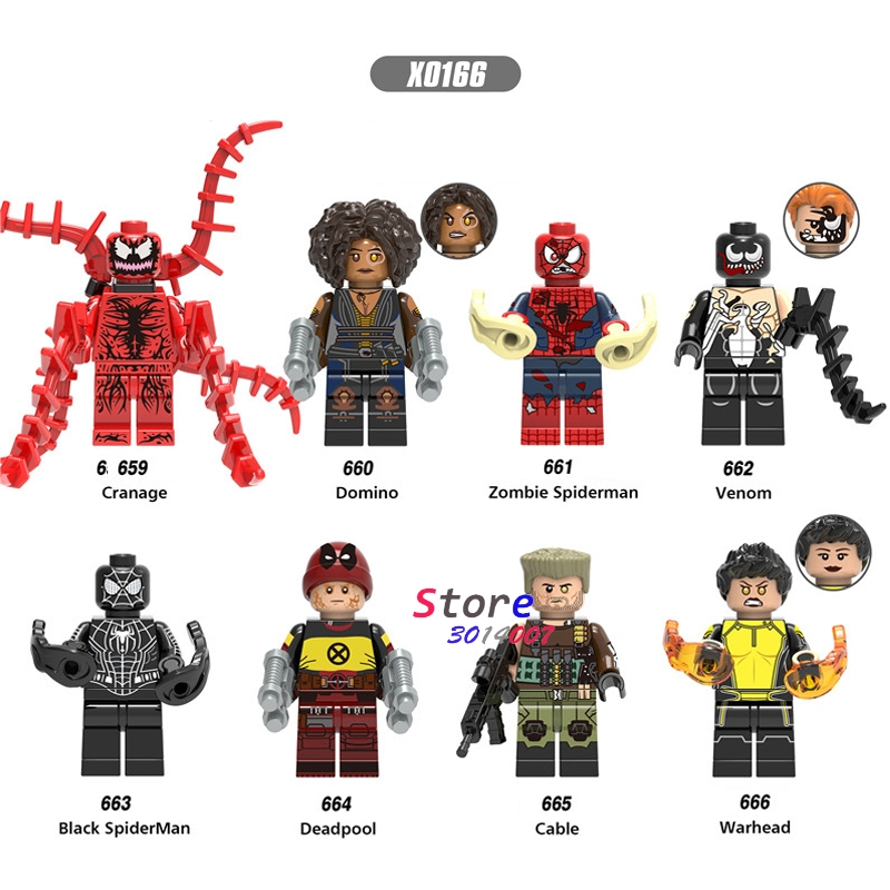 Single Deadpool 2 Domino Cable Peter Carnage Warhead Black Spderman Zombie Action  Building Blocks Toy For Children