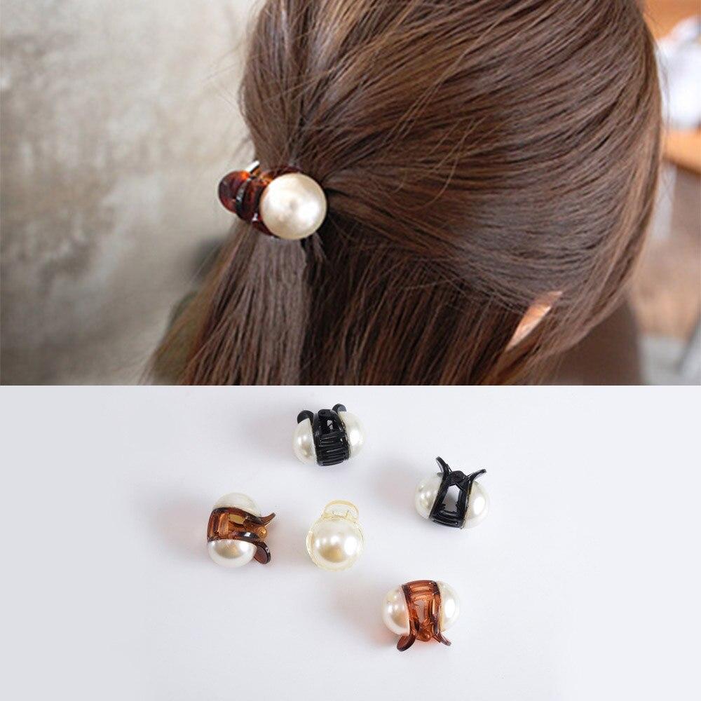 1PC Girls Pearl Mini Hair Claw Barrettes Korean Elegant Hair Crab Hair Claws For Women Fashion   Headwear   Hair Accessories