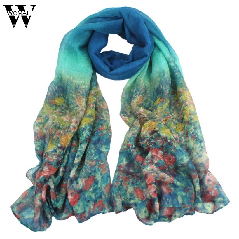Amazing Summer Spring Autumn Flower Womens Ladies Voile   Scarves   Long   Wraps   Shawl   Scarf   5Colors Free Shipping