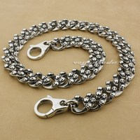 16 ~ 36 Hand Bone Corss Skulls 316L Stainless Steel Mens Wallet Chain 5Q012WC_#24