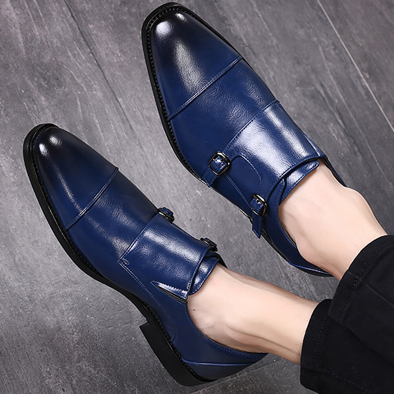 Men formal shoes leather 2019 new arrival comfortable pointed toe designer shoes male buckle strap big size 38-48
