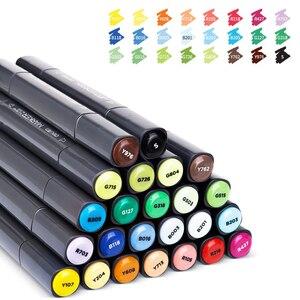 Image 2 - デリ 24/36/48/60 色アートマーカーデュアルヒント 1 7 ミリメートルファインブラシマーカーペン水ベースのインクマーカー描画するためのマンガアート用品