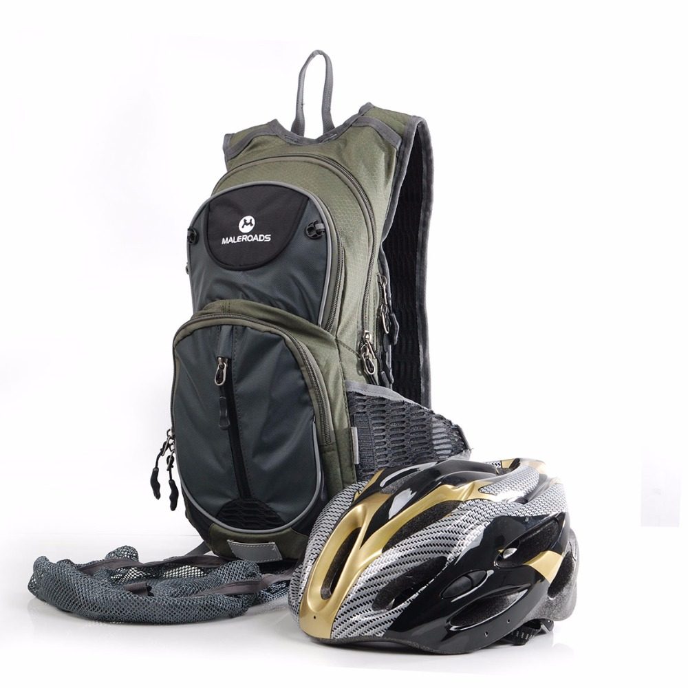 Maleroads 15L Hydration Bicycle Backpack + 2L TPU Water Bladder Bag Waterproof Cycle Climb Camp Hike Mochilas Pack For Men Women harlem hl1087 outdoor sports tpu backpack water bag dark green 2l