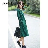 Amii Casual Women Minimalist Dress 2017 Loose V Neck Straps Female Dresses