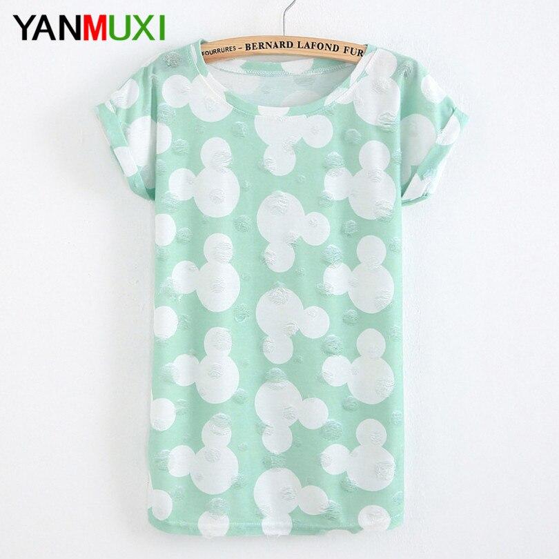 2017 di Modo di Estate Disegno Della Nappa Foro T-Shirt Cute Mouse Stampa sfilacciati donne T Shirts Donna Manica Corta Sexy Signore Sottili top