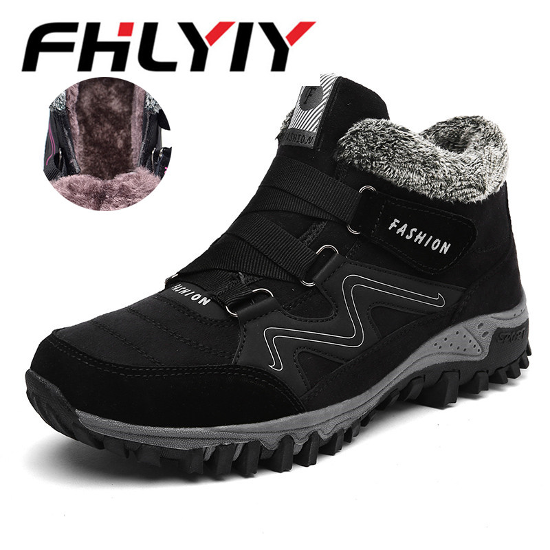 Men Boots Winter With Fur Warm Snow Boots Men Winter Boots Work Shoes Casual Plush Fashion Boots Bota Masculina Black Gray plush casual suede shoes boots mens flat with winter comfortable warm men travel shoes patchwork male zapatos hombre sg083