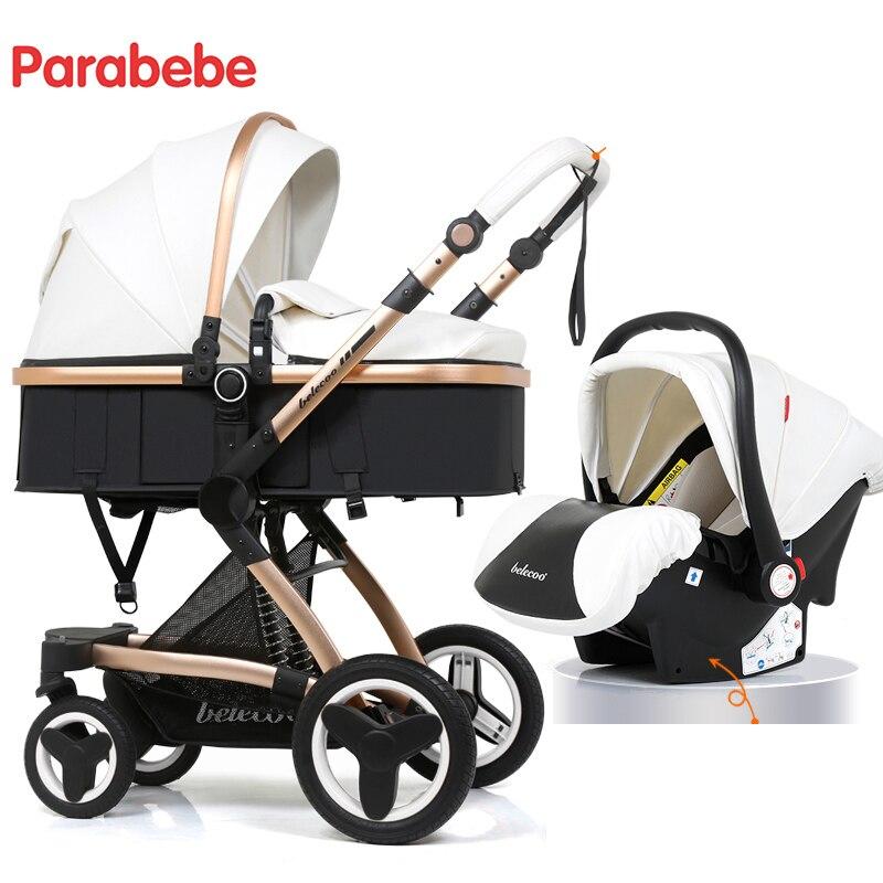 14 kg Bébé De Luxe Poussette 3 Dans 1 Nouveau En Cuir Poussette Bébé De Voiture Siège Pour Enfant Infantile Tricycle Bébé Landau pour Nouveau-Né Bébé Chariot