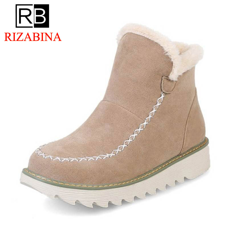 RizaBina Warm Fur Women Snow Boots Flat Platform Winter Shoes Flock Ankle Boots Female Basic Snow Casual Shoes Size 34-43 winter 2016 womens boots big size handmade rhinestone studded flat shoes woman platform faux fur snow boots casual ankle booties