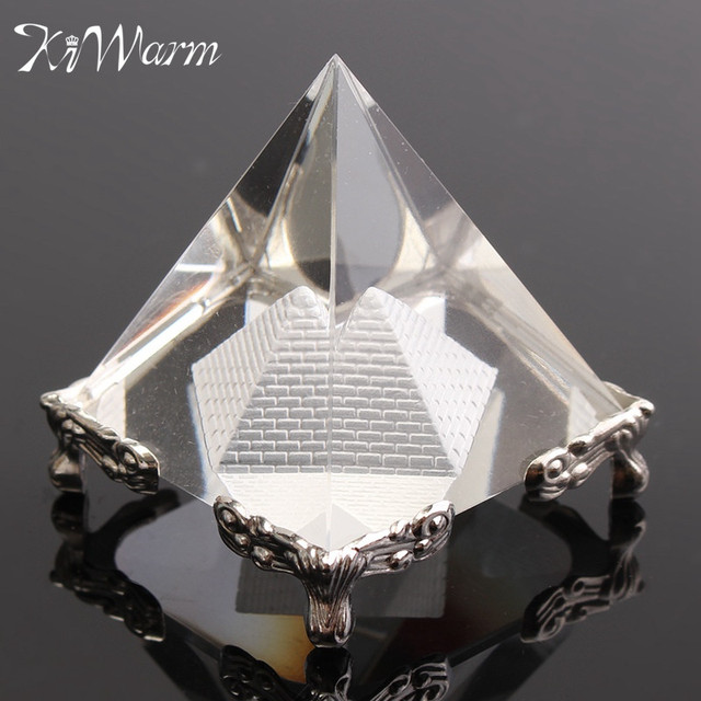 Small Feng Shui Egypt Egyptian Clear Crystal Pyramid Energy Healing  Ornaments Christmas Collection Gifts Home Decoration Crafts-in Figurines &