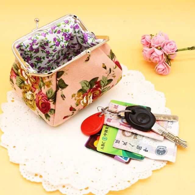 Cute Floral Purse with Hasp Closure