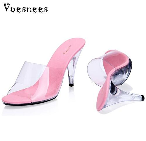 2015 Women's Shoe Sandals Sexy Heels Geight 10cm Female High-Heeled Sandals Ultra High heels Slippers Transparent Crystal Shoes