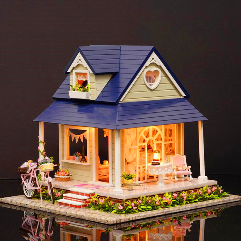 CuteRoom DIY Handmade Wooden Dollhouse Miniature With House Furniture Toy Gift For Children Bicycle Angle Kit Gift For Children cuteroom 1 32dollhouse miniature diy kit with cover