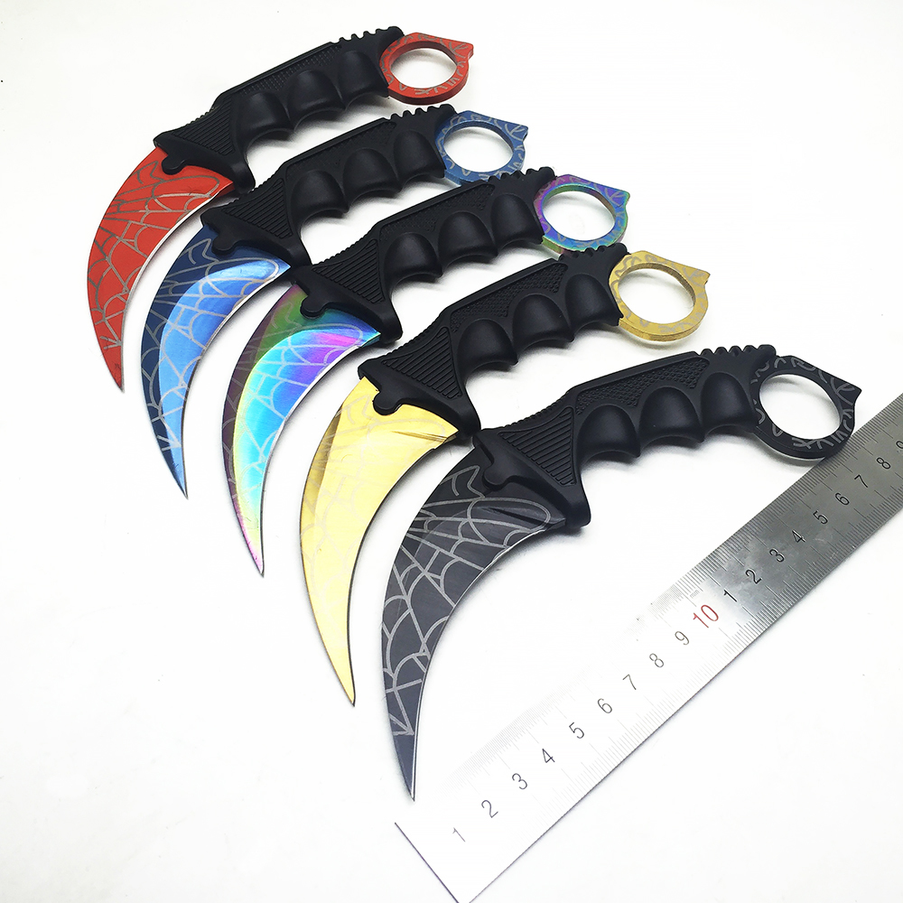 ZZSQ Karambit CS GO Fixed Blade Knife Never Fade Counter Strike Fighting Claw Knives Survival Camping EDC Cosplay Tools image